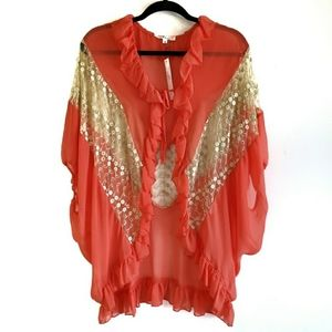 Ciel USA Ruffle Tie Kimono Blouse